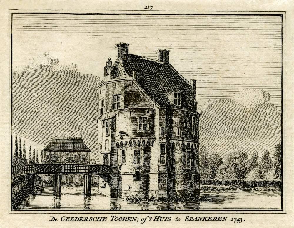 De Geldersche Toren in Spankeren. Tekening Jan de Beijer, gravure Hendrik Spilman (Uit: Het Verheerlykt Nederland, Isaac Tirion, 1745/1774)